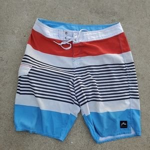 Rusty Swim Shorts Red White and Blue Waist 32